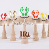 Fancy BABY FOOT Colorful Beech Kendama, Custom Paint Pattern Kendama for Wholesale Honrui Kendama