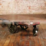 INDIA VINTAGE METAL COFFEE TABLE , VINTAGE INDUSTRIAL COFFEE TABLE FURNITURE WITH WHEELS