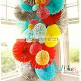 Popular Tissue Paper Fans For fire flame party decoration