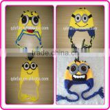 wholesale kids character minion crocheted hats hand crochet knitting winter caps for boys