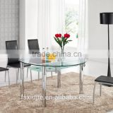 L802 Rotating Extendable Round Clear Glass dining Table with White base stainless Steel Leg