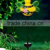 handmade ceramic mini bee led solar garden light lawn ornaments