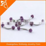 316L Stainless Steel Curved Barbell Eyebrow Piercing Jewelry Eyebrow Rings with dark purple Multi CZ Gem Balls