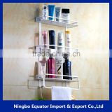 bathroom furniture 3 tier aluminum storage rack for towel and paper bath shelf/kitchen storage mini size