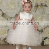 Sleeveless Satin Tulle Organza Color Combination Flower Girl Dress For Infants(FLMO-3053)