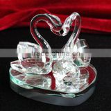 Couple crystal glass swan figurine for wedding soubenirs