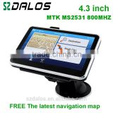 "4.3""TFT LCD display Resolution 480*272 car dvd car radio gps navigation with built-in rechargeable Li-Battery"