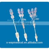 IV Infusion catheter set with needleless adapter parts