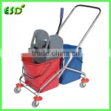 China Hotel Housekeeping Plastic Mop Bucket Trolley