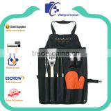 Promotional black canvas cotton work aprons with pockets