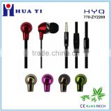 New arrive stereo metallic plating flat cable earbud with mic handsfree earphone for mobile or PC