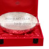 IndianArtVilla Handmade Silver Plated Designer Big Round Bowl, Gift Packing Box 600 ML - Occasions Festival Home Decore Gift