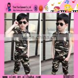 2015 Fashion Sunshine Boy Camouflage Clothes Two Piece Summer Sport Import Baby Clothes