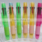 Yiwu Multicolor Ballpoint pen sixcolors plastic ballpen with sling