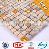 ZTCLJ JTC-1306 Ice Cracked Crystal and Golden Glass Mix Travertine Mosaic Wall Tile Backsplash