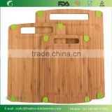 Green Silicone Rubber Feet 3 Piece Set All Natural Wood Lightweight Medium Bamboo Cutting Board with Juice Groove