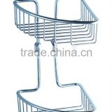 Double Tier Corner Shower Caddy Wire Basket in Chrome