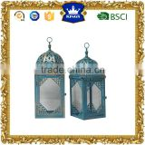 Wedding decoratives blue with golden brush moroccan metal candle lantern set of 2