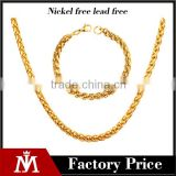 Wholesale Unisex 18k Gold Twisted Chain Bracelet Jewelry Stainless Steel Silver Baskets Necklace