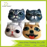 3D Animal Head Cats and Dogs Cotton Throw Cushion for Home Office Car