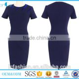 Ladies office wear short sleeves business patchwork casual business party fitted bodycon pencil dress 2017