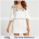 Elegant Round Neck Mesh Shoulder 3/4 Length Bell Sleeve Embroidered Women Sexy Mini Dress