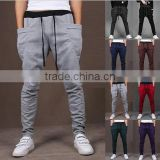 Comfortable cotton sports pants/silm fitknitted men pants/Small leg cuff Plain pants