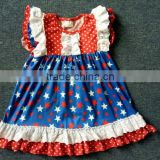 2017 wholesale summmer baby girls outfit pretty boutique clothing sets 4th of July dress