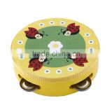 Tambourine party favors wholesale wood tambourine mini kids instruments logo printed tambourine