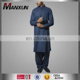 Muslim Men Thobe Navy Blue Cotton Suit Regular Fit Men's Anaya Formal Kurta Design for Men