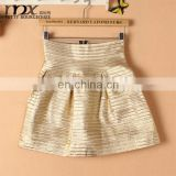 Luxury punk style latest skirt design pictures gold pleated party wear skirt design ball gown