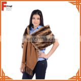 Top quality rex rabbbit fur shawl with cashmere