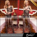 Attractive Stretchy Sexy Black Mature Bodystocking Babydoll Lingerie