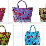 Cotton Velvet Shoulder Bags Indian Beach Bags Bird Floral Handbags