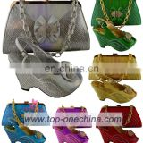 TSH221 Sliver High quality Italian shoes matching bags/Matching shoes and bags sets for party