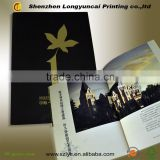 Black card paper hot stamping real promotion brochure, advertisement brochure manufacture in Shenzhen