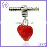 Valentine's Day 925 sterling silver red heart dangle charm for European bracelet