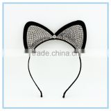 Fancy girls sparkly crystal stone hair band teenagers black sexy cat ears headband