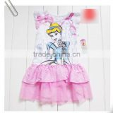 2015 Cinderella Princess kids short sleeve dress girl summer pink dress wholesale cinderella dress
