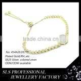 2015 Latest special design yellow gold plated 925 silver CZ paving setting cheap cross inside bracelets for American market