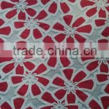 red burning flower lace fabric with white crochet for dress