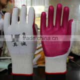 red rubber safety coated working gloves/working gloves/garden working gloves /soft and good grip working gloves
