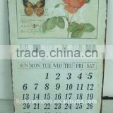 metal tin antique shabby wall art rose and butterfly calendar