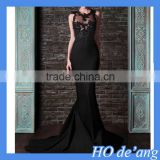 HOGIFT The new long section fishtail dress,trailing Slim sexy black dress,embroidered halter photography wedding dress