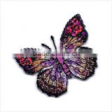Butterfly,Sequined, Fuchsia & Gold-Iron On Embroidered Applique/pink butterfly applique/sequin bead butterfly