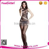Sexy Women Floral Stripes One-shoulder Fishnet Body Stocking Bodysuit Lingerie