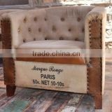 Industrial Furniture store , VINTAGE INDUSTRIAL CANVAS AND LEATHER SOFA