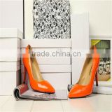2016 ladies high heel safety shoes women pumps in orange shoes