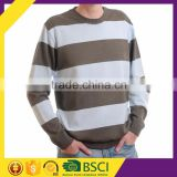 Simple striped round collar casual style cable knitted fashion men woolen sweater design