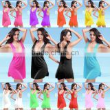 Women's Sexy Halter Beach Elastic Dress Bikini Cover Up Swimwear Tank Top Vest